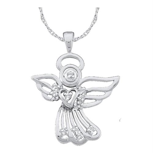 14kt White Gold Womens Round Diamond Guardian Angel Pendant 1/10 Cttw