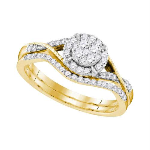 10kt Yellow Gold Womens Round Diamond Bridal Wedding Engagement Ring Band Set 3/8 Cttw - 109550-6.5