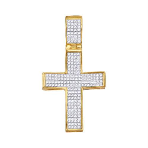 10kt Yellow Gold Mens Princess Diamond Christian Cross Charm Pendant 1-1/2 Cttw