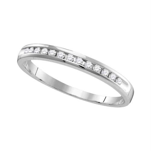 14kt White Gold Womens Round Diamond Slender Single Row Wedding Band 1/6 Cttw
