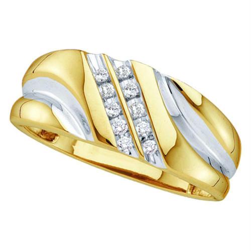 10kt Yellow Gold Mens Round Diamond 2-tone Wedding Anniversary Band Ring 1/8 Cttw