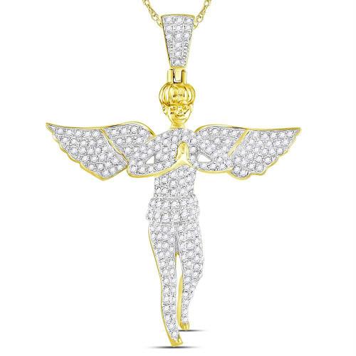 10kt Yellow Gold Mens Round Diamond Angel Wings Cherub Charm Pendant 1.00 Cttw