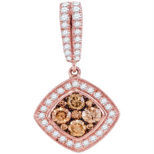 14kt Rose Gold Womens Round Cognac-brown Color Enhanced Diamond Diagonal Square Cluster Pendant 1.00 Cttw