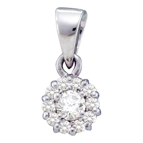14kt White Gold Womens Round Diamond Solitaire Circle Frame Cluster Pendant 1/4 Cttw