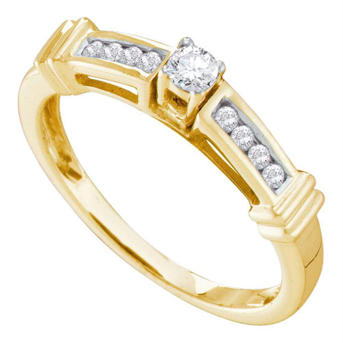 14kt Yellow Gold Womens Round Diamond Solitaire Bridal Wedding Engagement Ring 1/4 Cttw - 46729-6.5