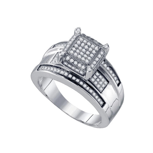 10kt White Gold Womens Round Diamond Elevated Rectangle Cluster Bridal Wedding Engagement Ring 1/3 Cttw