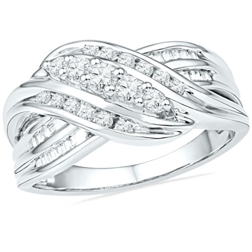 10kt White Gold Womens Round Diamond 5-Stone Crossover Band Ring 1/2 Cttw