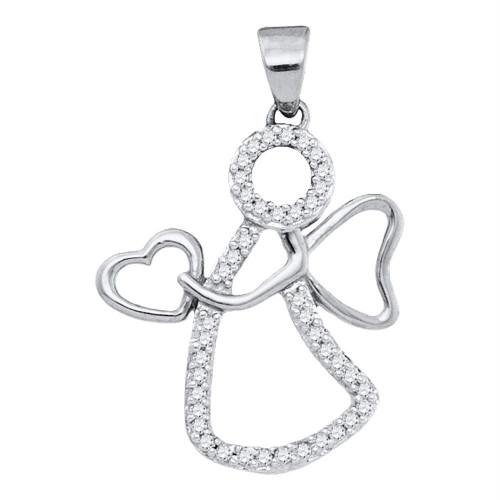 10kt White Gold Womens Round Diamond Guardian Angel Heart Pendant 1/8 Cttw