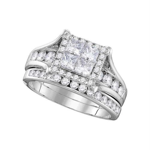 14kt White Gold Womens Princess Diamond Square Halo Bridal Wedding Engagement Ring Band Set 1-1/2 Cttw - 106280-5