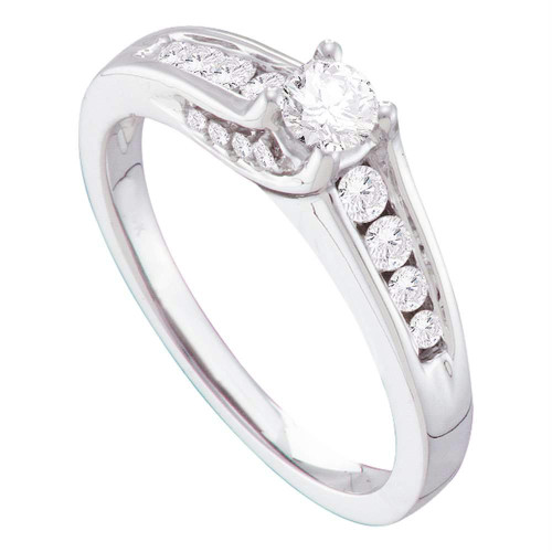 14kt White Gold Womens Round Diamond Solitaire Bridal Wedding Engagement Ring 1/2 Cttw - 41367-10.5