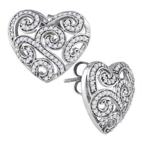 10k White Gold Round Pave-set Diamond Womens Hearts Screwback Stud Earrings 1/2 Cttw
