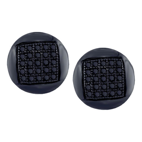 10kt White Gold Mens Round Black Color Enhanced Diamond Circle Cluster Stud Earrings 1/6 Cttw