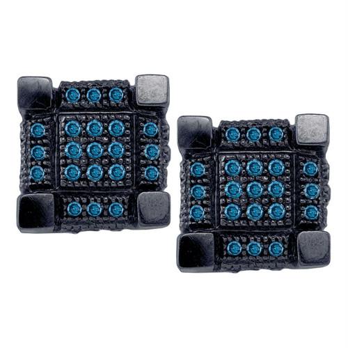 10kt White Black-tone Gold Mens Round Blue Color Enhanced Diamond 3D Cube Square Cluster Earrings 1/3 Cttw