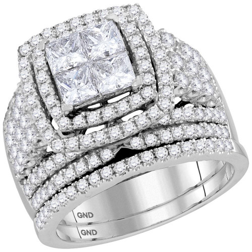 14kt White Gold Womens Princess Diamond Halo Bridal Wedding Engagement Ring Band Set 3.00 Cttw
