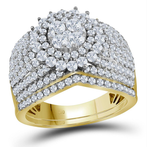 14kt Yellow Gold Womens Round Diamond Cluster Bridal Wedding Engagement Ring Band Set 2.00 Cttw - 116765