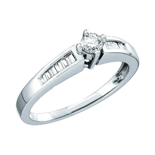 10kt White Gold Womens Round Diamond Solitaire Bridal Wedding Engagement Ring 1/4 Cttw - 45238-6
