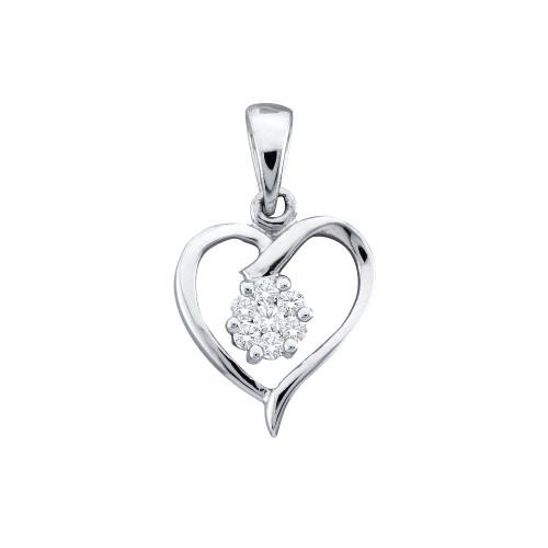 10kt White Gold Womens Round Diamond Flower Cluster Heart Pendant 1/12 Cttw