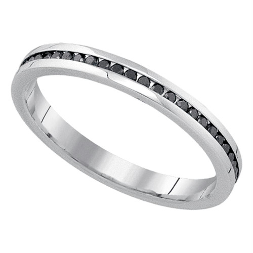 10kt White Gold Womens Round Black Color Enhanced Diamond Wedding Band 1/4 Cttw