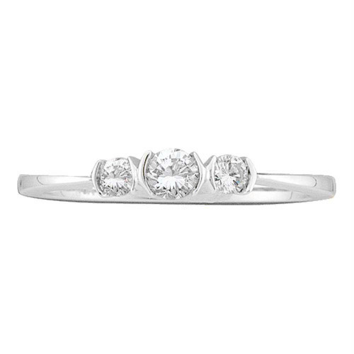 10kt White Gold Womens Round Diamond 3-stone Bridal Wedding Engagement Ring 1/4 Cttw - 46159