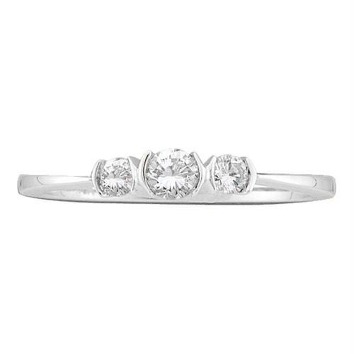 10kt White Gold Womens Round Diamond 3-stone Bridal Wedding Engagement Ring 1/4 Cttw - 46159