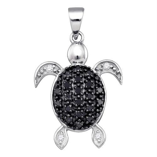 10k White Gold Black Color Enhanced Diamond Turtle Tortoise Shell Womens Pendant 1/3 Cttw