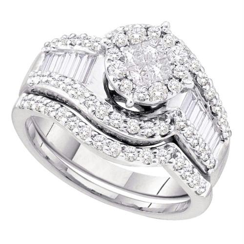 14kt White Gold Womens Princess Diamond Bridal Wedding Engagement Ring Band Set 1-1/4 Cttw - 46317-5
