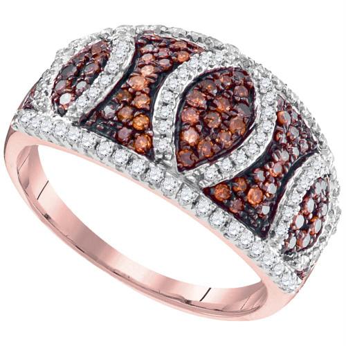 10kt Rose Gold Womens Round Red Color Enhanced Diamond Stripe Symmetrical Ring 3/4 Cttw