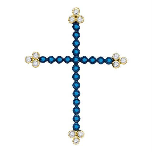10kt Yellow Gold Womens Round Blue Color Enhanced Diamond Cross Faith Pendant 1/3 Cttw