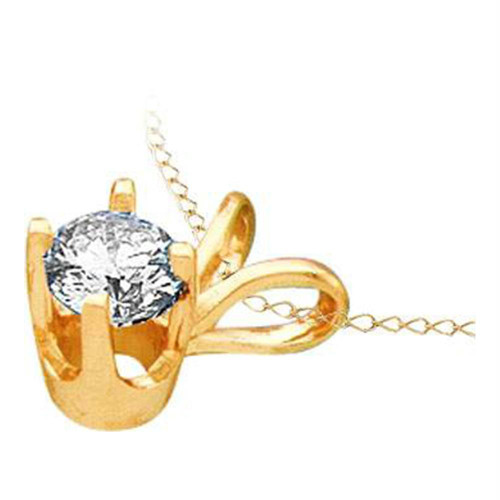 14kt Yellow Gold Womens Round Diamond Solitaire Pendant 1/4 Cttw - 12237