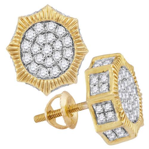 10kt Yellow Gold Mens Round Diamond Starburst 3D Cluster Stud Earrings 3/4 Cttw