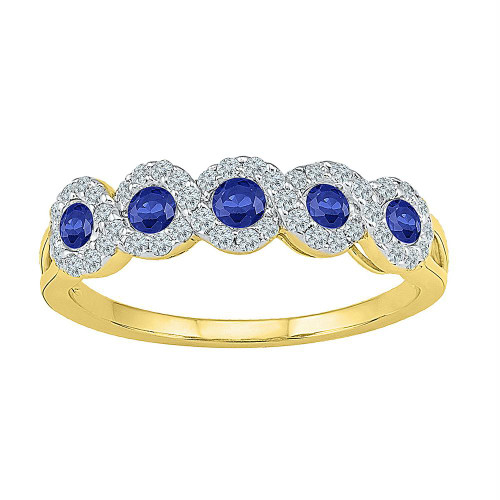 10kt Yellow Gold Womens Round Lab-Created Blue Sapphire Band Ring 1/2 Cttw - 101240-10