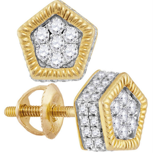 10kt Yellow Gold Mens Round Diamond Polygon Rope Frame Cluster Earrings 3/8 Cttw