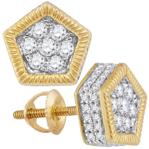10kt Yellow Gold Mens Round Diamond Polygon Rope Frame Cluster Earrings 7/8 Cttw