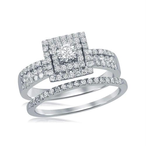 14kt White Gold Womens Round Diamond Square Halo Bridal Wedding Engagement Ring Band Set 7/8 Cttw