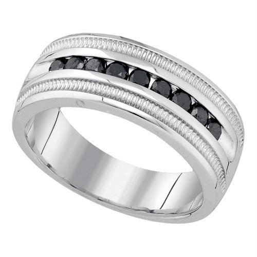 10kt White Gold Mens Round Black Color Enhanced Diamond Wedding Band Ring 1/2 Cttw - 79243-9
