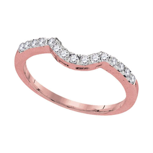 14kt Rose Gold Womens Round Diamond Contoured Wedding Enhancer Band  Ring 1/4 Cttw