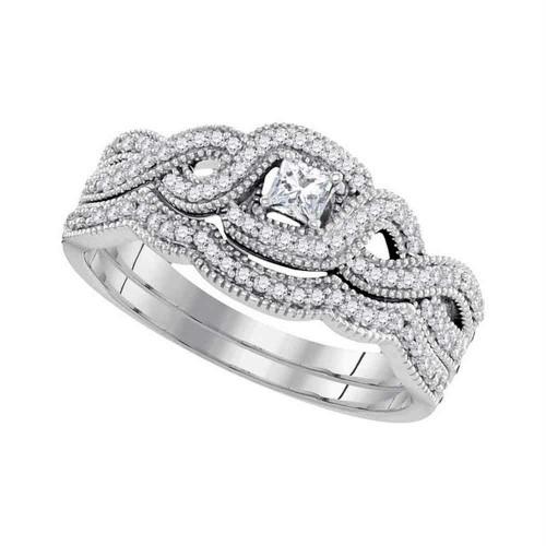 10k White Gold Princess Diamond Woven Crossover Bridal Wedding Engagement Ring Band Set 1/3 Cttw