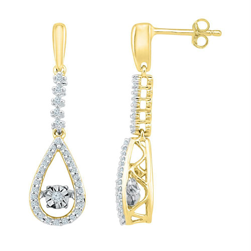 10kt Yellow Gold Womens Round Diamond Moving Twinkle Teardrop Dangle Earrings 1/5 Cttw