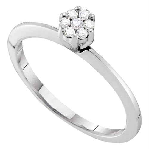 10kt White Gold Womens Round Diamond Cluster Bridal Wedding Engagement Ring 1/8 Cttw - 39812-10.5