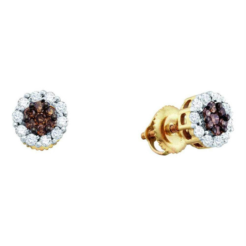 14kt Yellow Gold Womens Round Cognac-brown Color Enhanced Diamond Flower Cluster Screwback Earrings 1/2 Cttw
