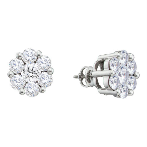 14kt White Gold Womens Round Diamond Flower Cluster Screwback Stud Earrings 2.00 Cttw