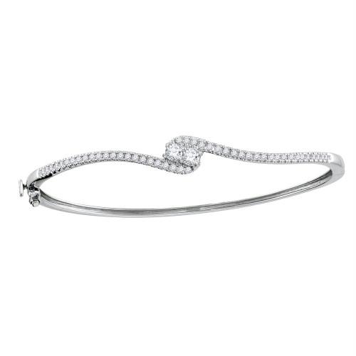 14kt White Gold Womens Round Diamond 2-stone Bypass Bangle Bracelet 3/4 Cttw