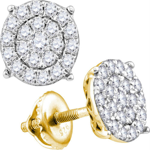 10kt Yellow Gold Womens Round Diamond Concentric Circle Cluster Stud Earrings 2.00 Cttw