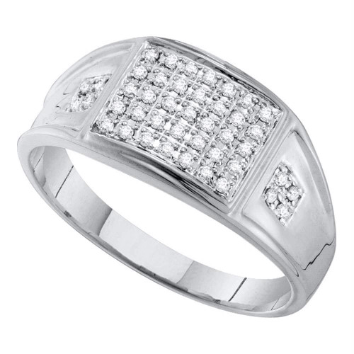 10kt White Gold Mens Round Prong-set Diamond Square Cluster Ring 1/4 Cttw