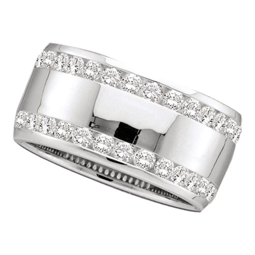 14kt White Gold Womens Round Channel-set Diamond Double Row Wedding Band 1/2 Cttw - 40744-7