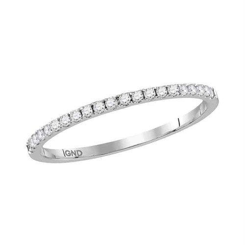14kt White Gold Womens Round Diamond Slender Stackable Band Ring 1/6 Cttw