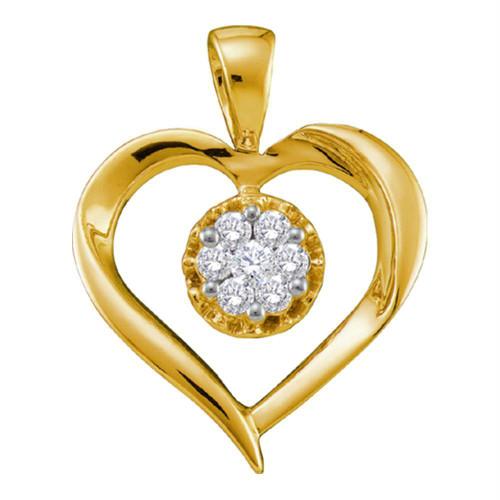 14kt Yellow Gold Womens Round Diamond Heart Love Cluster Pendant 1/4 Cttw