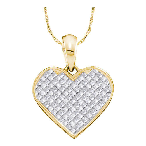 14kt Yellow Gold Womens Princess Diamond Heart Love Pendant 1/4 Cttw