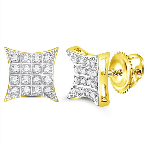 10kt Yellow Gold Mens Round Diamond Kite Square Cluster Stud Earrings 1/10 Cttw