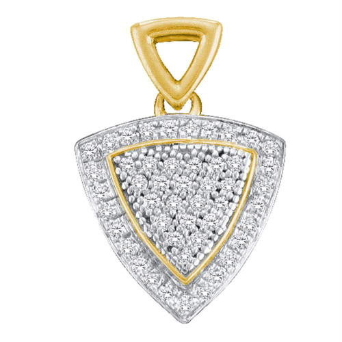10kt Yellow Gold Womens Round Diamond Triangle Frame Cluster Pendant 1/6 Cttw